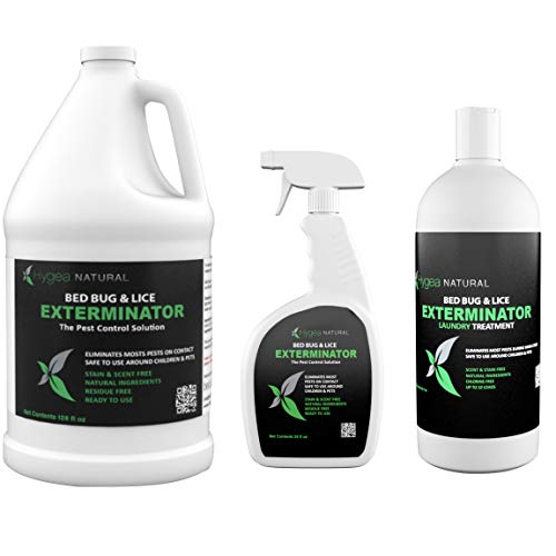 Hygea Natural Exterminator Combo Pack, Non Toxic Treatment, Natural Bugs & Lice Eradicator, Includes Bed Bug Spray 24 oz, Refill 128 oz & Laundry Treatment 32 oz