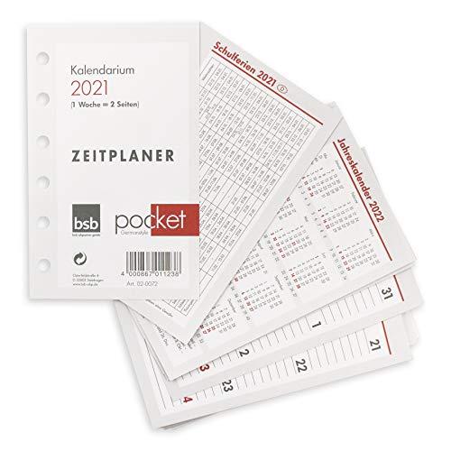 bsb Kalendereinlage 2021 ca. A7 12,9x8cm Timereinlage für Zeitplaner Pocket 1 Woche auf 2 Seiten