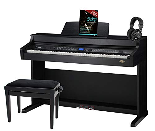 Classic Cantabile DP-A 410 SM E-Piano Set inkl. Bank, Kopfhörer und Schule (Digitalpiano 88 Tasten Hammermechanik, Kopfhöreranschluss, USB, Begleitautomatik, 3 Pedale, inkl. Noten und Hocker) schwarz