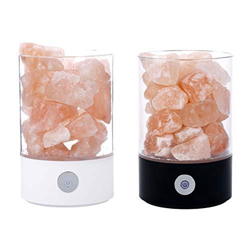 Liapianyun Lámpara de Sal de Roca cristalina del Himalaya de regulación Continua de purificación de Servicio de decoración luz de Noche lámpara de Mesa de Dormitorio sueño Ligero (2pcs),1