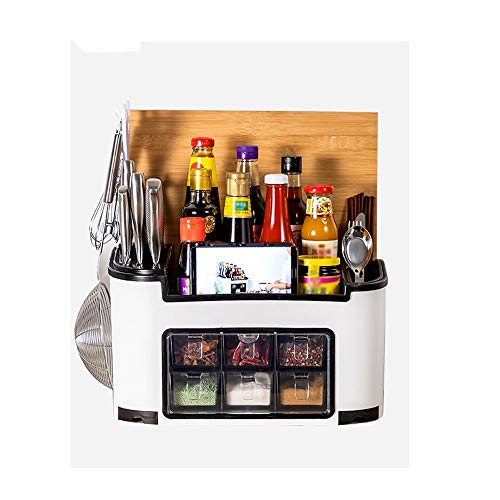 WNN-URG Spice Rack Cutlery Holder Tray Knife Block Multifunction Kitchen Countertop Storage Organiser for Spice Cutlery Knives Sauces Bottles with Seasoning Box URG (Color : White)