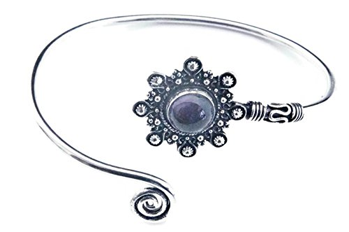mantraroma Armreif Armband versilbert silbern Amethyst lila (922-05-023-01)