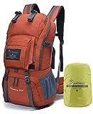 MOUNTAINTOP 40 litros Mochila de Senderismo, Impermeable Mochila Trekking al Aire Libre Mochilas de Montaña Viajes Acampadas con Cubierta de Lluvia(Rojo-y)