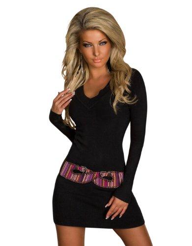 4968 Damen Langarm-Minikleid aus Strick Pullover dress Kleid verfügbar in 2 Größen und in 6 Farben (S/M 36 38, Schwarz)