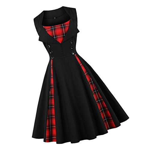 non-brand Sharplace Vestido de Cuadros Rockabilly Sin Mangas Sensación Cómoda Baile Tela Escocesa A Line Vintage Mujer Túnica Belleza - Plaid Negro, S