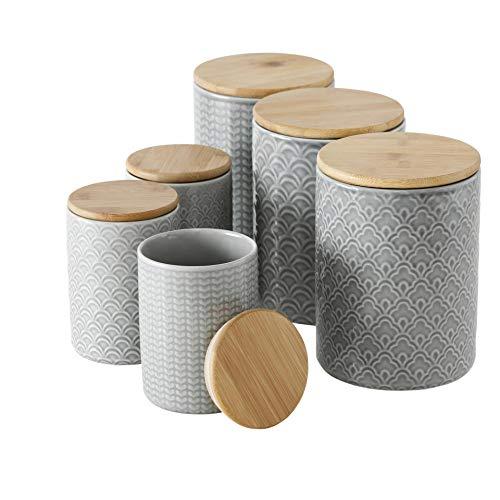 Porzellan Vorratsdosen 6er Set sortiert mit Bambusdeckel und Silikondichtung H14-18cm mediterran marrakesch Tiles gemustert grau