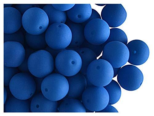30 pcs Tchèque Verre Pressé Perles ESTRELA NEON (UV Active) Rondes 8 mm Blue