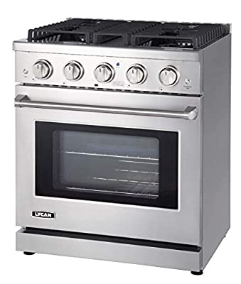 LYCAN Professional Gas Range Cook Top - Heavy Duty Stainless Steel Stove with 4 Burners - 4.55 cu.ft. Kitchen Gas Oven with Adjustable Rack - Premium Freestanding Oven Range - Easy to Clean Gas Stoves