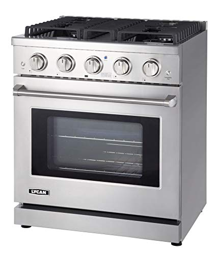 LYCAN Professional Gas Range Cook Top - Heavy Duty Stainless Steel Stove...