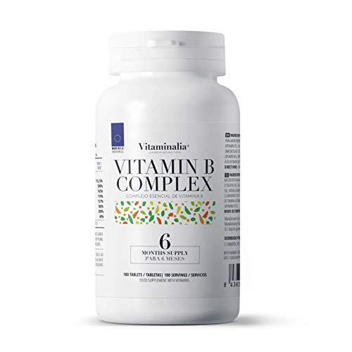 Vitamina B Complex de Vitaminalia | Complejo Vitamínico B con vitamina b1 b6 b12 | Todas las vitaminas B veganas | Sin OGM, Sin Gluten, Sin Lactosa | 180 Tabletas