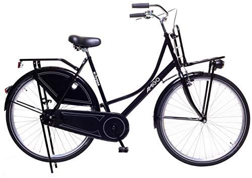 Amigo Eclypse - Cityräder für Damen - Damenfahrrad 28 Zoll - Geeignet ab 175-185 cm - Citybike mit Handbremse, Rücktritt, Gepäckträger Vorne, Beleuchtung und fahrradständer - Schwarz