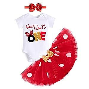 IWEMEK Half Way to One Baby Girls 1/2 Birthday Cake Smash Outfits Romper+ Polka Dot Tutu Skirt Dress+ Bowknot Headband Party Summer Clothes Set Photo Shoot Costume #A: Red 6 Months