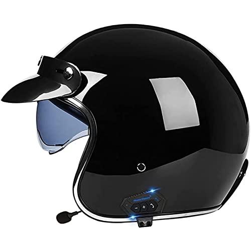 Casco de Moto con Bluetooth Jet Half,Casco de Cara Abierta 3/4,Casco Moto Scooter Jet para Mujer Hombre Adultos,Certificado Dot/ECE B,S=55~56CM