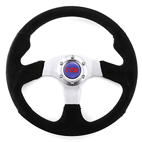 JZK New Classic Universal Steering Wheel 350mm 6 Bolts Velour Leather Material Grip and Brushed Stainless Spokes