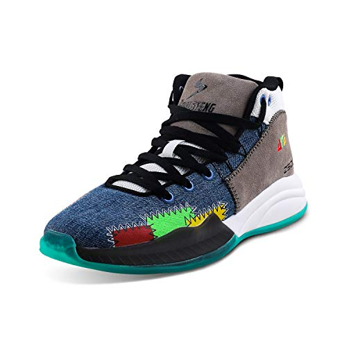 Soulsfeng Zapatos de baloncesto negros de los hombres de las altas Tops Zapatos deportivos ligeros profesionales antideslizantes, azul Denim, 41 EU