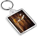 Destinazione vinile Portachiavi Whisky on The Rocks Portachiavi quercia stagionato Legno Bar Bevande alcoliche Regalo # 16204