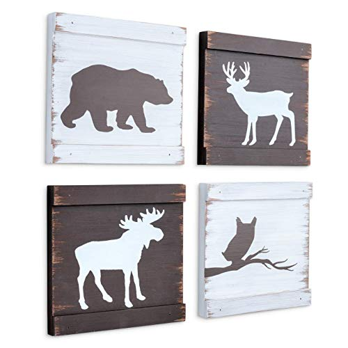 Home Rustique Rustic Cabin Decor Bear Moose Owl and Deer Wooden Wall Decoration (Set of 4, White + Brown) | Woodland Lodge Decor | Hunting Decor | Cabin Wall Decor