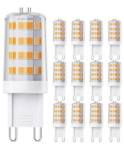 QNINE Leuchtmittel G9 LED, GU9 LED Birnen Warmweiß(2700K), 12 Stück, 4W(Ersetz 40W Glühbirne), 400 Lumen, Nicht Dimmbar, LED Lampe/Birne mit Stiftsockel [Energieklasse A+]
