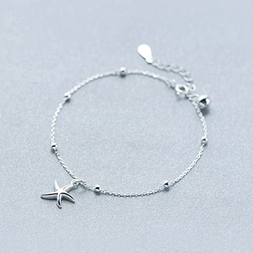 Silver Bracelet For Women 925 Silver,S925 Sterling Silver Circle Bracelet Creative Starfish Beaded Bells Rolo Chain 8.2&Quot;Sweet Fashion Adjustable Bangle Jewellery For Ladies Mum Wife Friends Ann