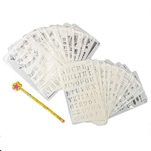 JZK 20 fogli assortiti riutilizzabile modello di disegno di plastica proiettile journal stencil per artigianato per bambini numeri adulti lettere scrapbook stencil per bullet journaling planner diario