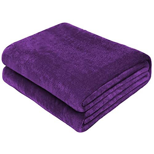 Yoofoss Manta para de Sofás de Franela 150x200cm - Forro Polar de Edredón Manta para Cama y Manta Cálida Microfibre Estaciones Extra Suave (púrpura)
