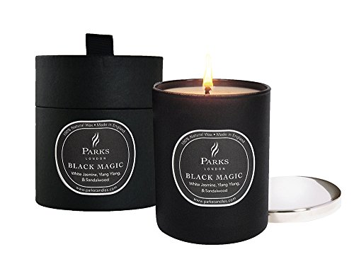 Parks - Black Magic, Candela in cera naturale profumata, in bicchiere di vetro nero, con coperchio in nickel argentato, in confezione regalo, White Jasmin/Ylang Ylang/Sandalwood & Patchouli, 235 g