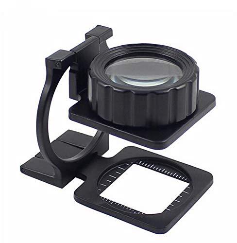 ROYWY 15x Leinen Test Drei Klapp Lupe Zinklegierung Lupe Lupe Mit Skala Für Textil Optische Schmuck Werkzeug, Schwarz A/A