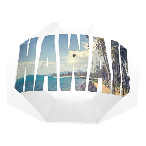 LASINSU Paraguas Resistente a la Intemperie,Palabra Hawai con Isla Tropical Foto Lugares Populares Exóticos Bosque De Palmeras por Océano,Fitness Entrenamiento Fuerte Grunge Print