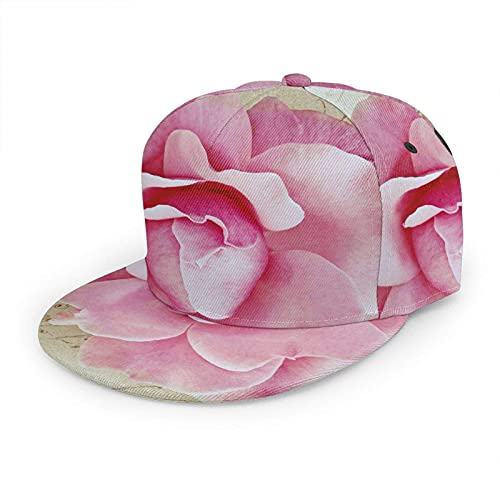 Oaieltj Gorra de béisbol unisex para mujer y hombre, ajustable, con visera plana, sombrero de hip hop, Primer plano de flores rosas hermoso pétalo de flores, Talla única