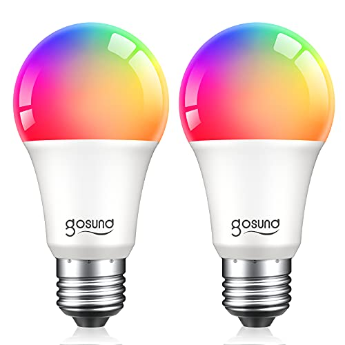 Smart Bulbs, Dimmable Multicolor Light Bulbs Work with Alexa and Google Home, RGB Color Changing Warm White Music Sync LED Bulbs A19 E26 75W Equivalent, 2.4GHz WiFi Only, No Hub Required, 2 Pack