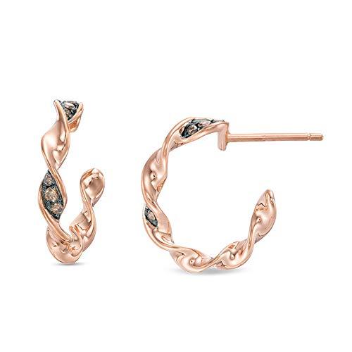 Ani's Pendientes de aro de 1/6 quilates de T.W. con diamantes de imitación de color marrón, chapados en oro rosa de 14 quilates con plata de ley 925