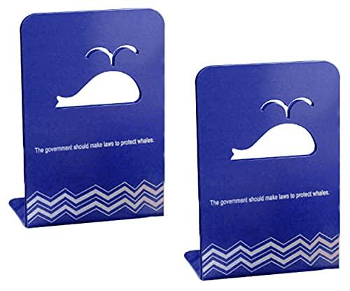 Hrbtag Sujetalibros de Metal, 1 Par Sujetalibros Originales Decorativos Oficina Soporte Libros Organizador Escritorio Oficina Antideslizante Aguanta Libros para Estantes para Oficina en Casa (Azul)