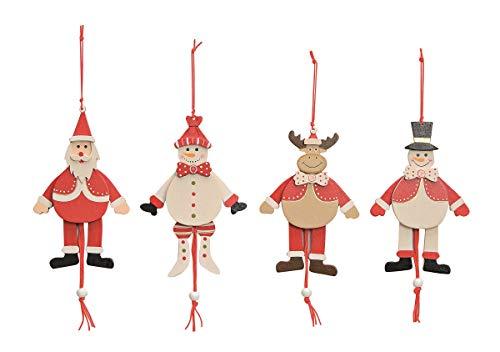 Wurm Set 4 Weihnacht Stück Weihnachts-Hampelmann Figuren rot 14 cm Holz verschieden sortierte Lieferung