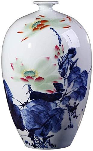 Xicaimen Vasen Chinesische Blaue und weiße Porzellan-Vase Handbemalte Große Bodenvase Klassische Lotus-Muster handgemachte Kunst Blau Vasen Deko