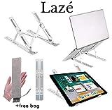 Soporte para computadora portátil Lazé: ajustable, multiángulo, portátil, soporte plegable para computadora portátil y soporte para tableta para escritorio, liviano