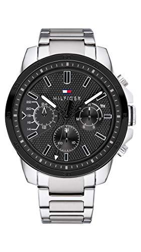 Tommy Hilfiger Herren Multi Zifferblatt Quarz Uhr mit Edelstahl Armband 1791564