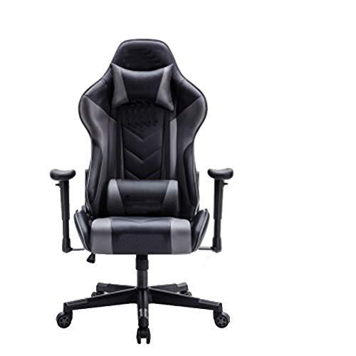 Silla de juego ajustable, silla de oficina con respaldo alto, silla de ancla, silla de oficina reclinable, color negro y azul