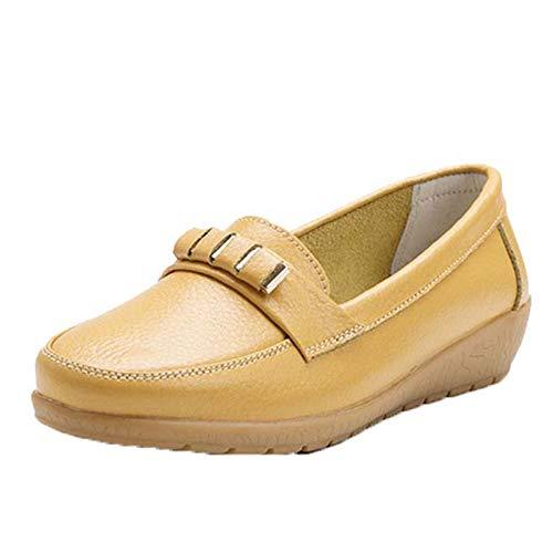 Mocasines para Mujer, Mocasines de Cuero para Primavera y Verano para Exteriores, para Caminar Diario, con Fondo Suave, Zapatos Planos de Ciudad sin Cordones de Color Puro