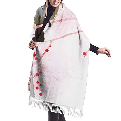 Schal mit Rotkehlchen für Kissen, groß, weich, kuschelig, Kaschmirschal, Winter, warm, Übergröße