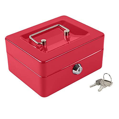 """Kyodoled Cash Box with Money Tray,Small Fire Resistant Safe Lock Box with Key,Cash Drawer,5.91""""x 4.72""""x 3.15"""" Red Small"""