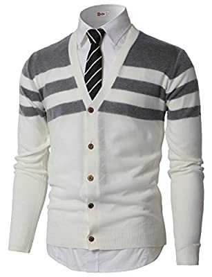 H2H Men's Classic V-Neck Collar Button Front Cardigan Sweater Gray US XL/Asia 2XL (KMOCAL0184) by