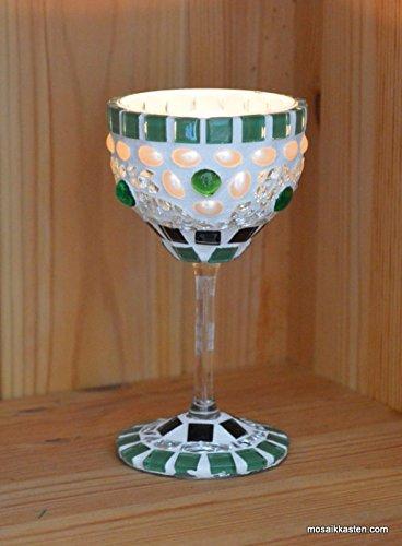 Windlicht grün schwarz spiegel Aus ALT mach NEU 14 cm hoch - handgemacht