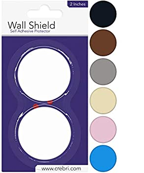 Door Stopper Wall Protector - Round Door Knob Wall Shield White Self Adhesive - Prevents Holes  2 inches White