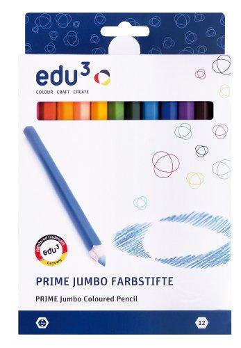 EDU3 Buntstifte Farbstifte edu³ Prime Jumbo Sechskantgriff, 12er Sortiment
