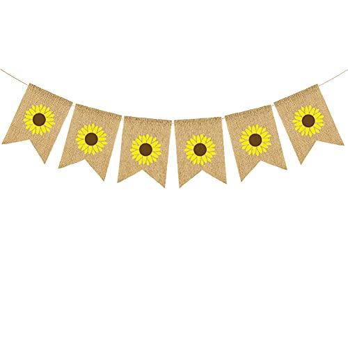 JIHUOO Banner de yute de girasol de arpillera colgante de primavera banderines de chimenea suministros guirnalda decoración