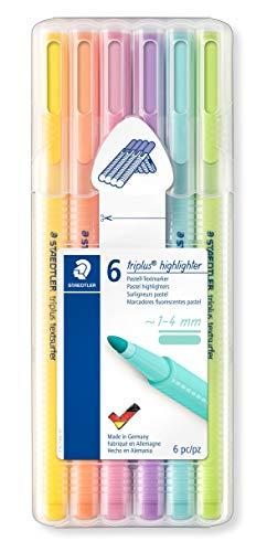 STAEDTLER Textmarker triplus highlighter (ergonomische Dreikantform, hohe Qualität, Set mit 6 Pastell-Farben, Linienbreite 1 - 4 mm, 362 CSB6)
