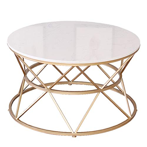 Mid-Century Modern Round Coffee Table with White Marble Top and Gold Geometric Lines Frame Furniture Sofa End table