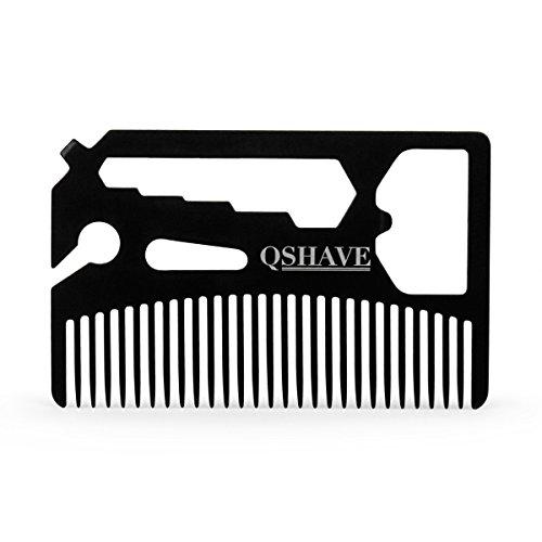 QSHAVE Multifunctional Utility Credit Card Size Comb Fits in Your Wallet (Comb, Bottle Opener, Wrench, Screw Driver, Knife Blade Breakaway)