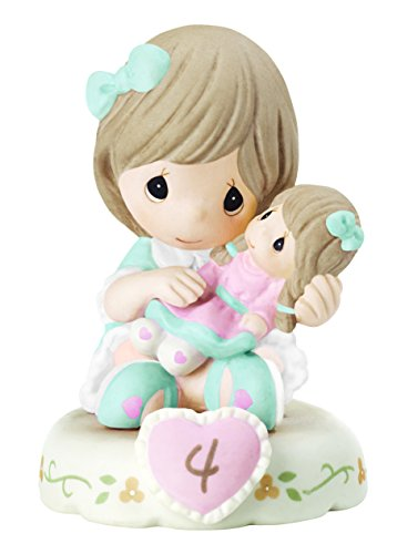 Precious Moments 152010B Growing In Grace, Age 4 Girl Bisque Porcelain Figurine Brunette