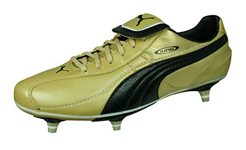 PUMA King XL SG Mens Leather Soccer Cleats Grass Winter Soccer Shoes-Gold-11.5